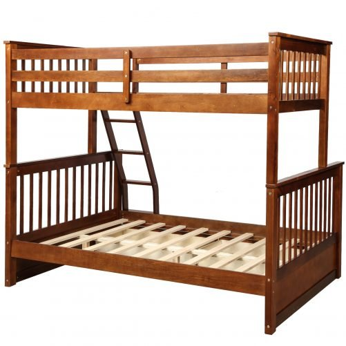 Twin-Over-Full Bunk Bed with Ladders and Two Drawers 20