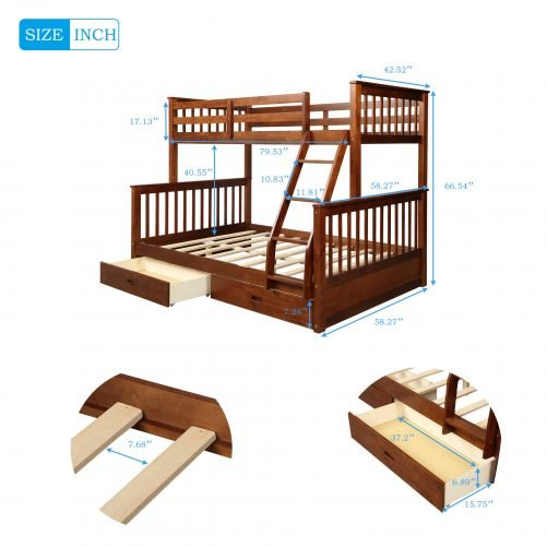Twin-Over-Full Bunk Bed with Ladders and Two Drawers 10