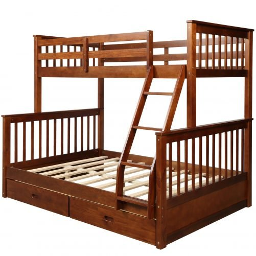 Twin-Over-Full Bunk Bed with Ladders and Two Drawers 18