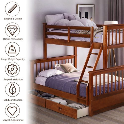 Twin-Over-Full Bunk Bed with Ladders and Two Drawers 2
