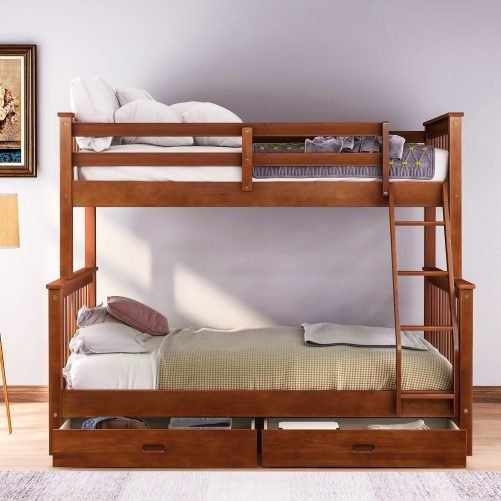 Twin-Over-Full Bunk Bed with Ladders and Two Drawers 14