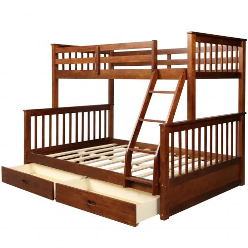 Twin-Over-Full Bunk Bed with Ladders and Two Drawers 12