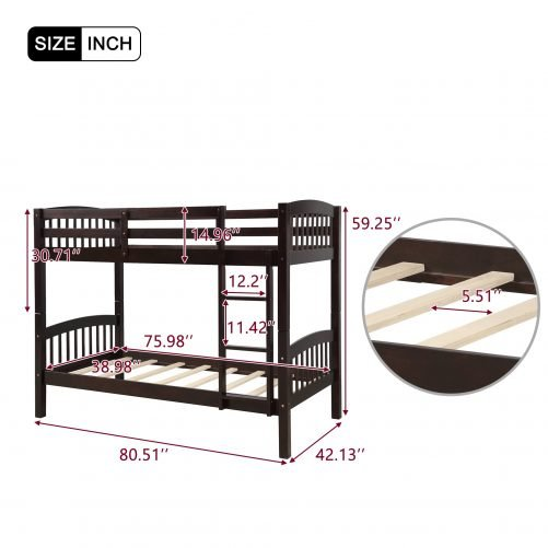 Solid Wood Twin Over Twin Bunk Bed with Ladder 20