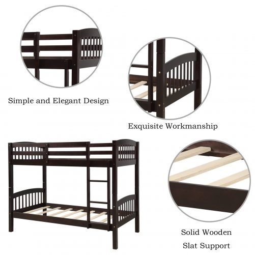 Solid Wood Twin Over Twin Bunk Bed with Ladder 16