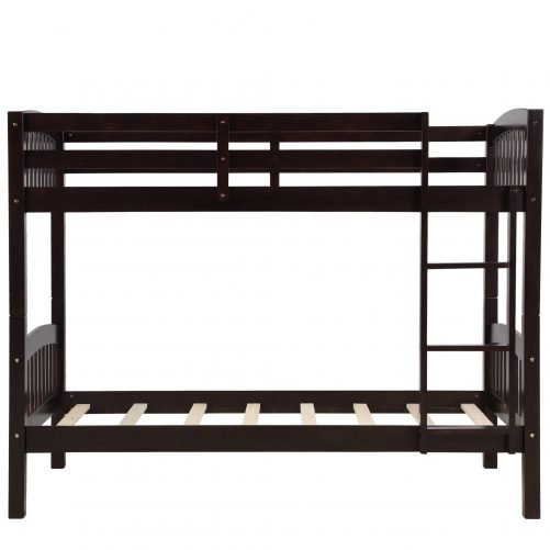 Solid Wood Twin Over Twin Bunk Bed with Ladder 10