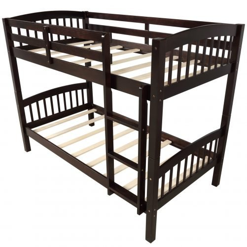 Solid Wood Twin Over Twin Bunk Bed with Ladder 14