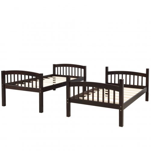 Solid Wood Twin Over Twin Bunk Bed with Ladder 12