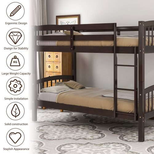 Solid Wood Twin Over Twin Bunk Bed with Ladder 1