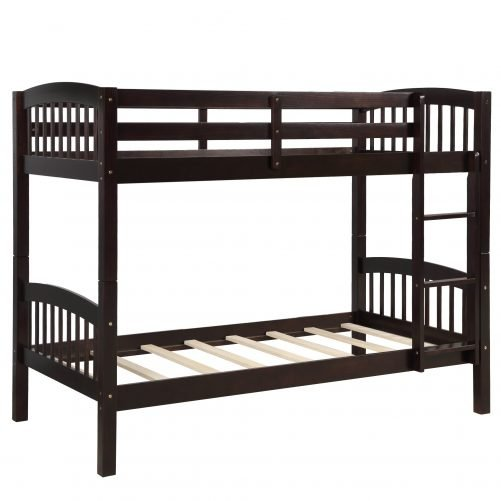 Solid Wood Twin Over Twin Bunk Bed with Ladder 4
