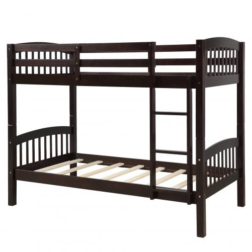 Solid Wood Twin Over Twin Bunk Bed with Ladder 2