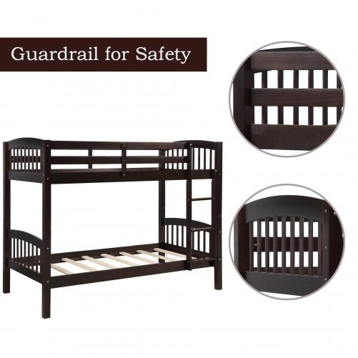 Solid Wood Twin Over Twin Bunk Bed with Ladder 6