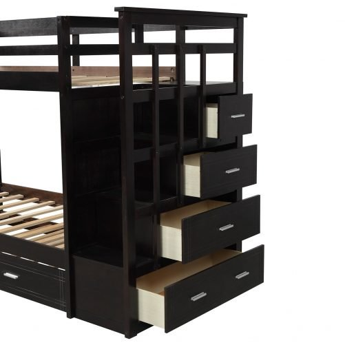 Solid Wood Bunk Bed for Kids, Hardwood Twin Over Twin Bunk Bed with Trundle and Staircase 17