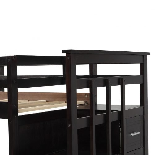 Solid Wood Bunk Bed for Kids, Hardwood Twin Over Twin Bunk Bed with Trundle and Staircase 7