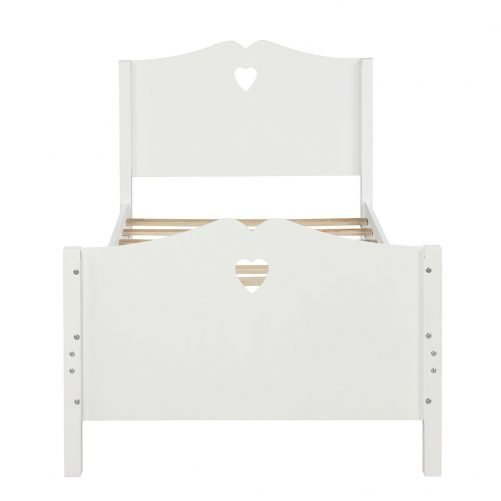Bed Frame Twin Platform Bed with Wood Slat Support and Headboard and Footboard 7
