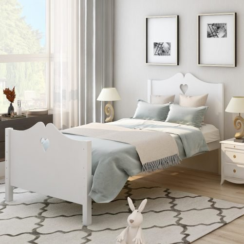 Bed Frame Twin Platform Bed with Wood Slat Support and Headboard and Footboard 1