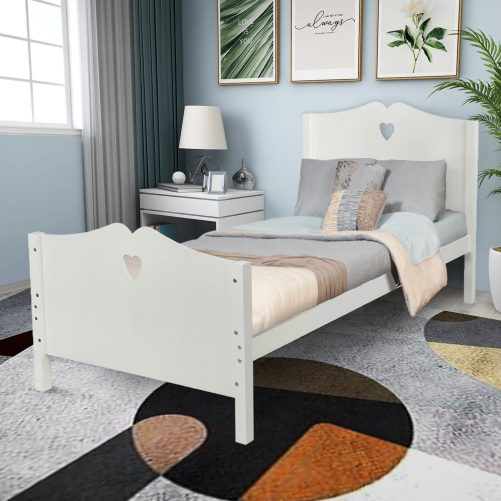 Bed Frame Twin Platform Bed with Wood Slat Support and Headboard and Footboard 22