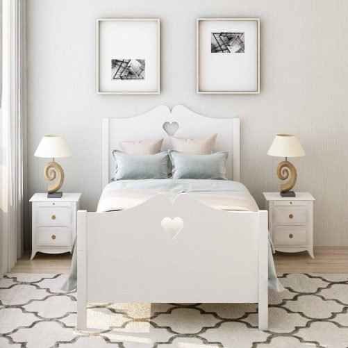 Bed Frame Twin Platform Bed with Wood Slat Support and Headboard and Footboard 14