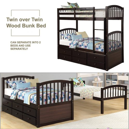 Twin Bunk Bed with Ladder, Safety Rail, Twin Trundle Bed with 3 Drawers for Kids 1