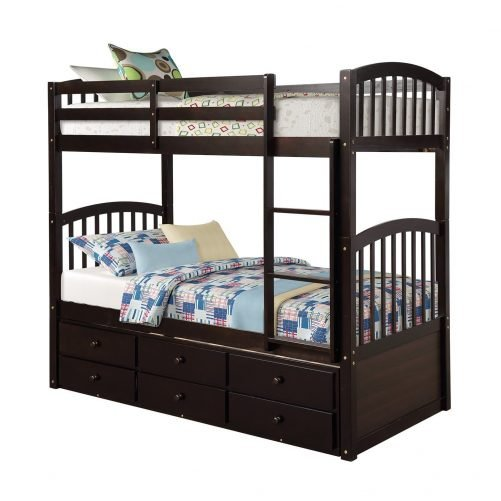 Twin Bunk Bed with Ladder, Safety Rail, Twin Trundle Bed with 3 Drawers for Kids 19