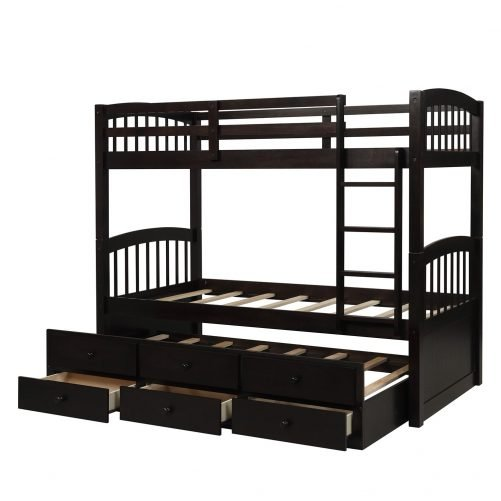 Twin Bunk Bed with Ladder, Safety Rail, Twin Trundle Bed with 3 Drawers for Kids 12