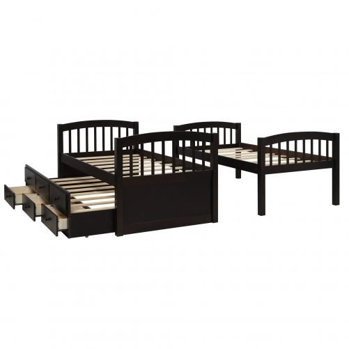 Twin Bunk Bed with Ladder, Safety Rail, Twin Trundle Bed with 3 Drawers for Kids 3