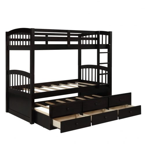 Twin Bunk Bed with Ladder, Safety Rail, Twin Trundle Bed with 3 Drawers for Kids 11
