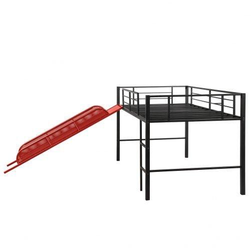 Twin Metal Loft Bed with Slide,Low loft 4