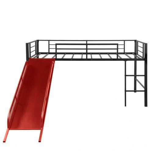 Twin Metal Loft Bed with Slide,Low loft 6