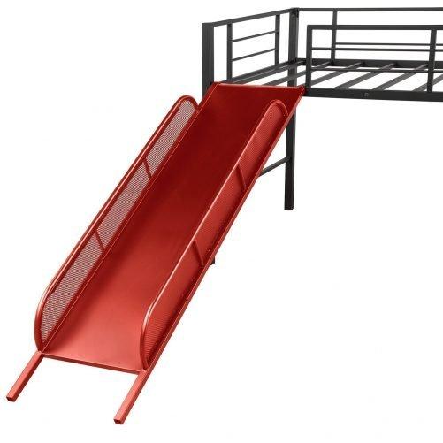 Twin Metal Loft Bed with Slide,Low loft 12