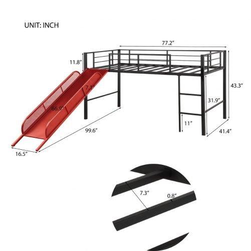 Twin Metal Loft Bed with Slide,Low loft 18