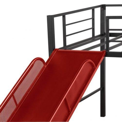 Twin Metal Loft Bed with Slide,Low loft 20