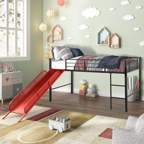 Twin Metal Loft Bed with Slide,Low loft 2