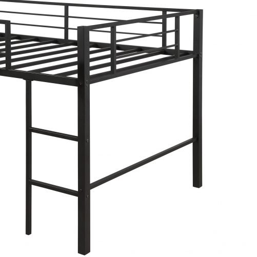 Twin Metal Loft Bed with Slide,Low loft 24