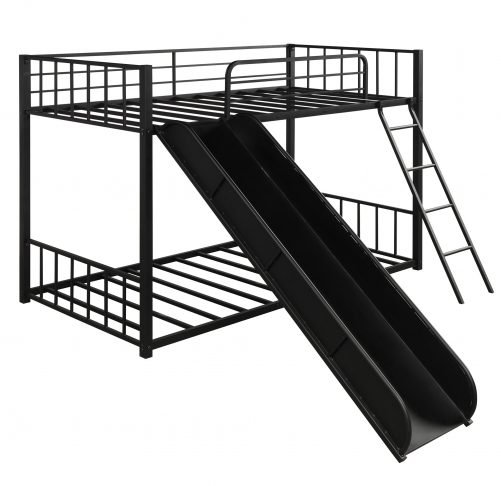 Metal bunk bed with slide, twin over twin 5