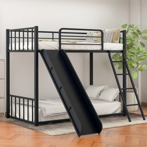 Metal bunk bed with slide, twin over twin 16