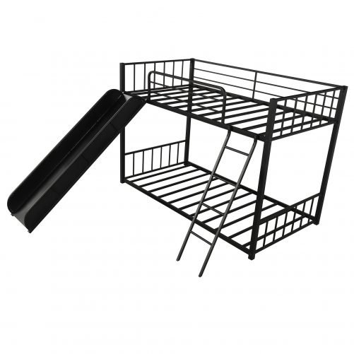 Metal Bunk Bed with Slide, Twin over Twin