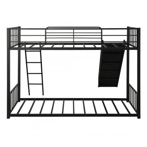 Metal bunk bed with slide, twin over twin 18