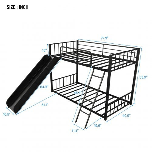 Metal bunk bed with slide, twin over twin 14