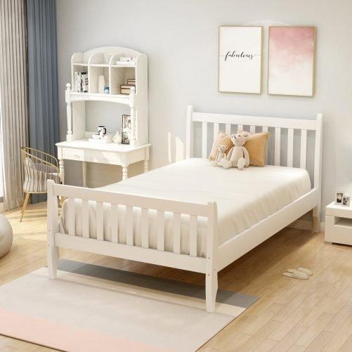 Wood Platform Bed Frame Mattress Foundation with Wood Slat Support 4