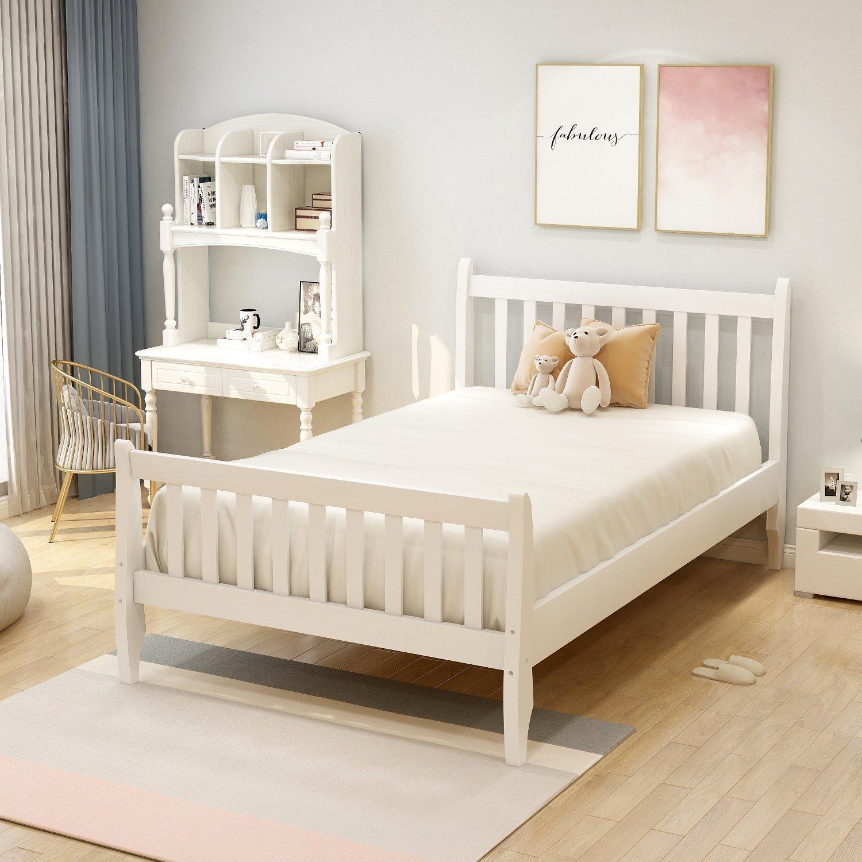 Wood Platform Bed Frame Mattress Foundation with Wood Slat ...
