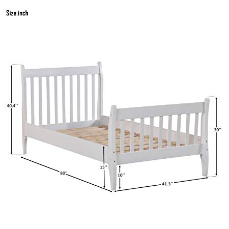 Wood Platform Bed Frame Mattress Foundation with Wood Slat Support 16
