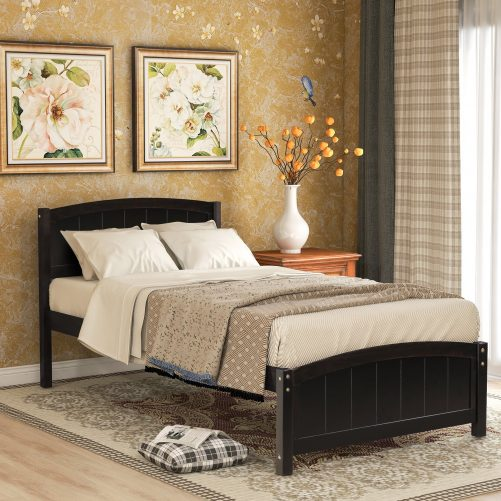 Wood Platform Bed with Headboard,Footboard and Wood Slat Support 6