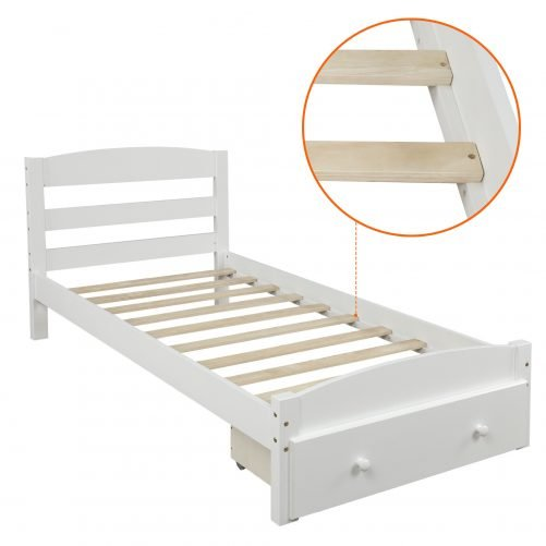 Platform Twin Bed Frame with Storage Drawer and Wood Slat Support 12