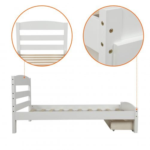 Platform Twin Bed Frame with Storage Drawer and Wood Slat Support 4