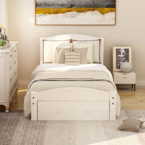 Platform Twin Bed Frame with Storage Drawer and Wood Slat Support 16