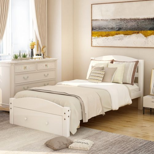Platform Twin Bed Frame with Storage Drawer and Wood Slat Support 1