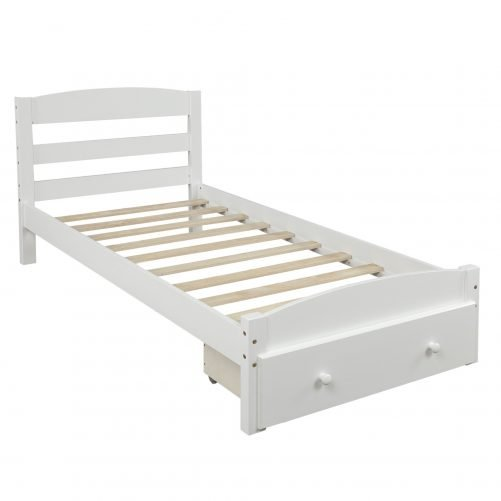 Platform Twin Bed Frame with Storage Drawer and Wood Slat Support 14