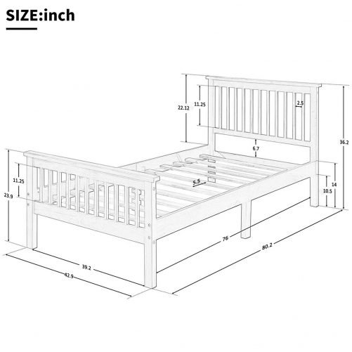 Wood Platform Bed with Headboard and Footboard 3