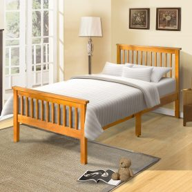 Wood Platform Bed with Headboard and Footboard 2