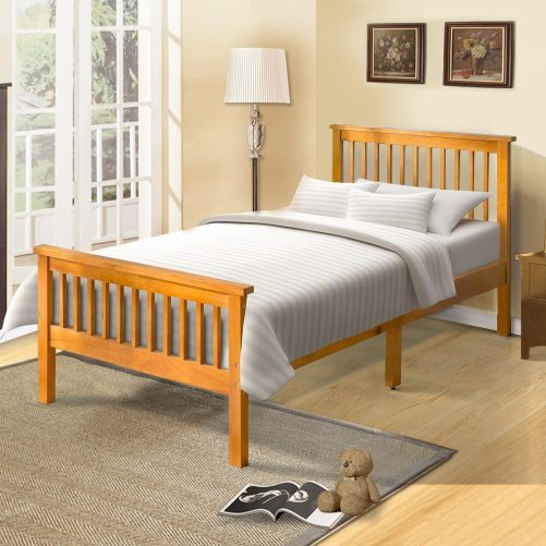 Wood Platform Bed with Headboard and Footboard 1